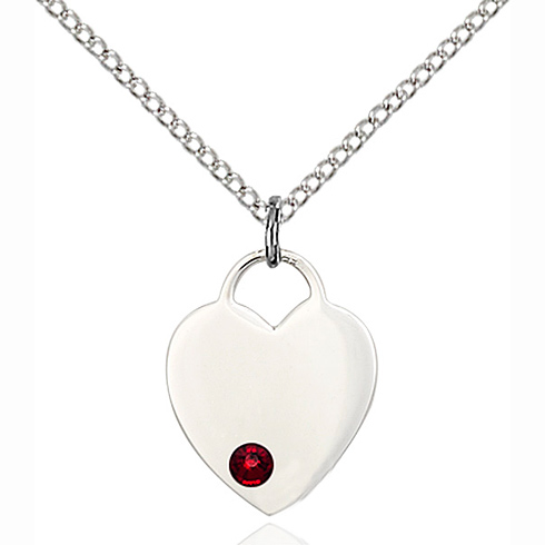 Sterling Silver 5/8in Heart Pendant with 3mm Garnet Bead & 18in Chain