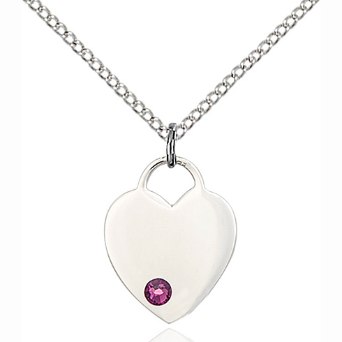 Sterling Silver 5/8in Heart Pendant with 3mm Amethyst Bead & 18in Chain