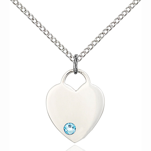 Sterling Silver 5/8in Heart Pendant with 3mm Aqua Bead & 18in Chain