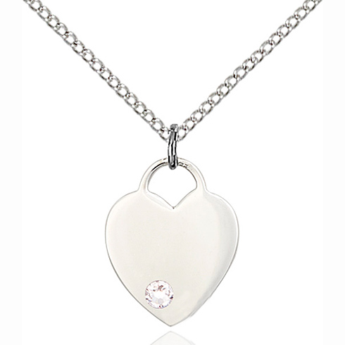Sterling Silver 5/8in Heart Pendant with 3mm Crystal Bead & 18in Chain