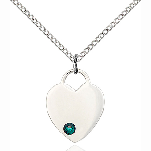Sterling Silver 5/8in Heart Pendant with 3mm Emerald Bead & 18in Chain