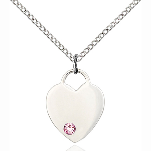 Sterling Silver 5/8in Heart Pendant with 3mm Light Amethyst Bead & 18in Chain