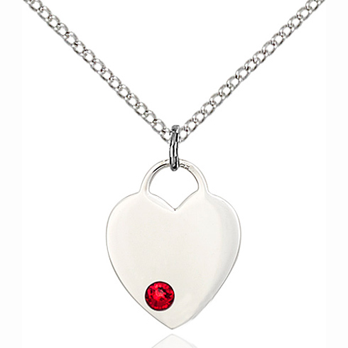 Sterling Silver 5/8in Heart Pendant with 3mm Ruby Bead & 18in Chain
