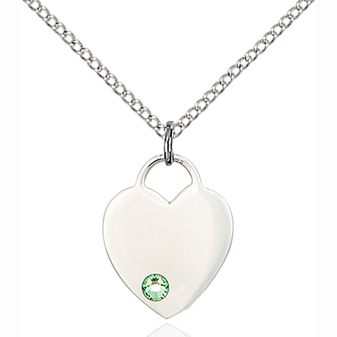 Sterling Silver 5/8in Heart Pendant with 3mm Peridot Bead & 18in Chain