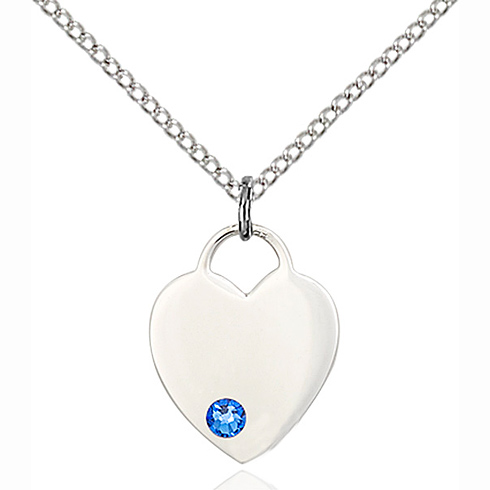 Sterling Silver 5/8in Heart Pendant with Sapphire Bead & 18in Chain
