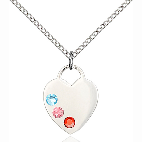 Sterling Silver 5/8in Heart Pendant with 3mm Multi-Color beads & 18in Chain