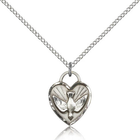 Sterling Silver 5/8in Heart Holy Spirit Medal & 18in Chain