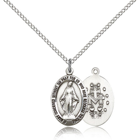 Sterling Silver 3/4in Miraculous Medal & 18in Chain