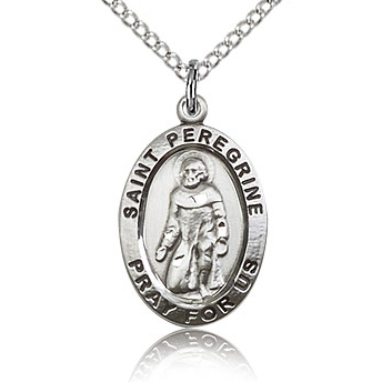 Sterling Silver 3/4in St Peregrine Medal & 18in Chain