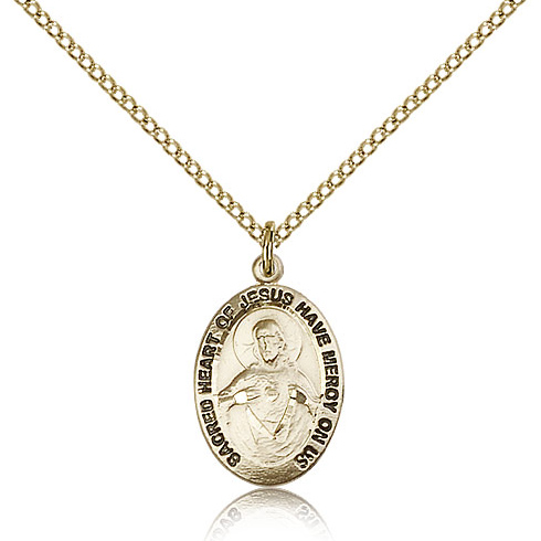 Gold Filled 3/4in Scapular Medal & 18in Chain