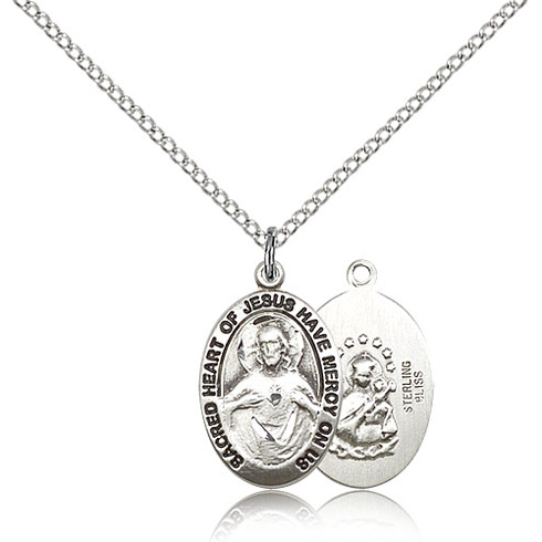 Sterling Silver 3/4in Oval Sacred Heart of Jesus Medal & 18in Chain
