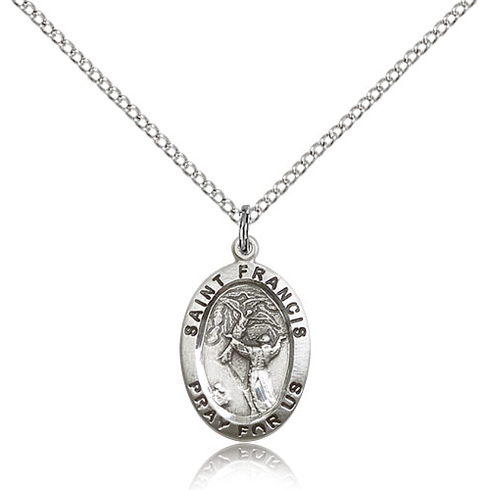 Sterling Silver 3/4in Oval St Francis Medal & 18in Chain