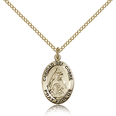 Gold Filled 3/4in Caridad del Cobre Medal & 18in Chain