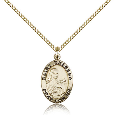 Gold Filled 3/4in Antiqued St Theresa Medal & 18in Chain