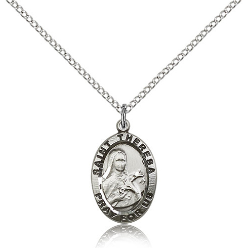 Sterling Silver 3/4in St Theresa Medal & 18in Chain