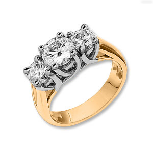 1 CT TW 14KY Moissanite 3-Stone Lucern Ring