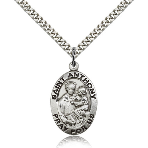 Sterling Silver 1in St Anthony Medal & 24in Chain