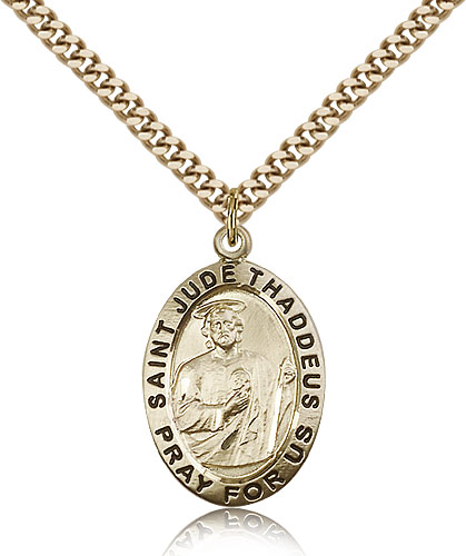 Gold Filled 1in St Jude Medal & 24in Chain