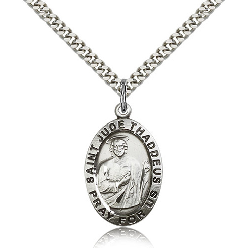 Sterling Silver 1in Antiqued Oval St Jude Medal & 24in Chain