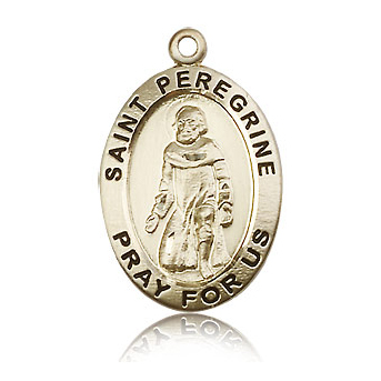 14kt Yellow Gold 1in St Peregrine Medal