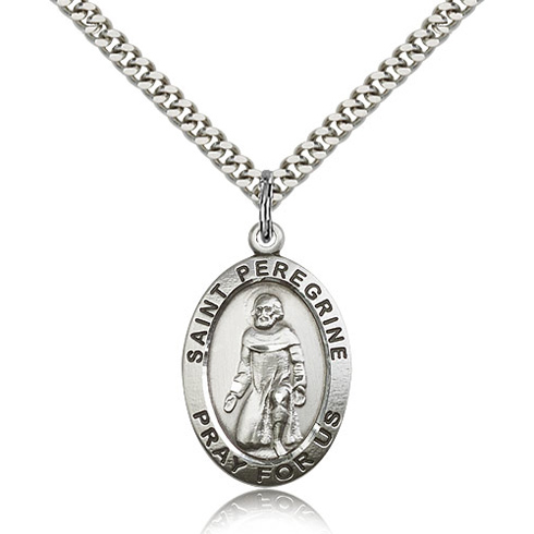 Sterling Silver 1in Oval St Peregrine Medal & 24in Chain