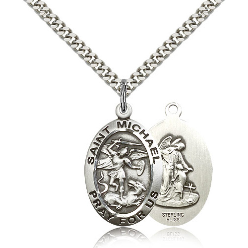 Sterling Silver 1in St Michael Pray For Us Medal & 24in Chain