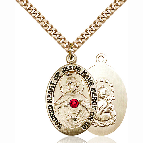 Gold Filled 1in Scapular Pendant with 3mm Ruby Bead & 24in Chain