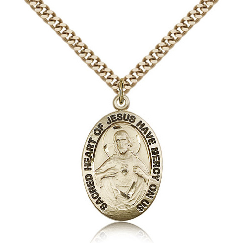 Gold Filled 1in Scapular Medal & 24in Chain