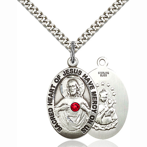 Sterling Silver 1in Scapular Pendant with 3mm Ruby Bead & 24in Chain