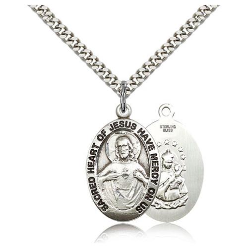 Sterling Silver 1in Scapular Medal & 24in Chain