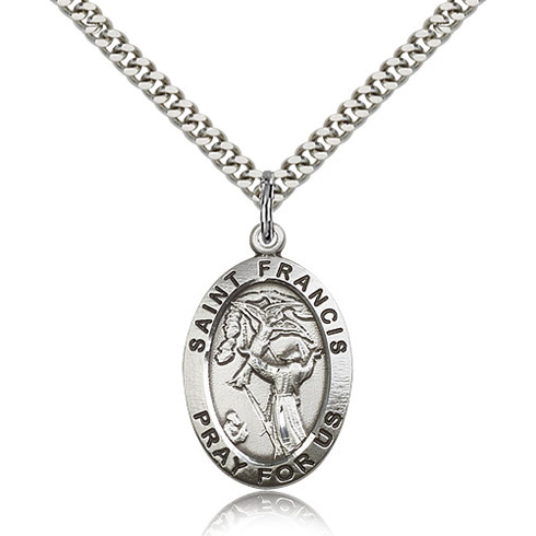Sterling Silver 1in St Francis Medal & 24in Chain