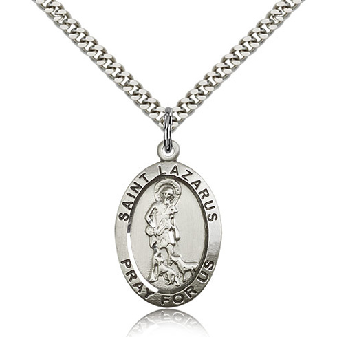 Sterling Silver 1in St St Lazarus Medal & 24in Chain