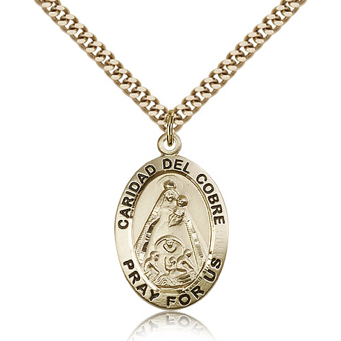 Gold Filled 1in Caridad del Cobre Medal & 24in Chain
