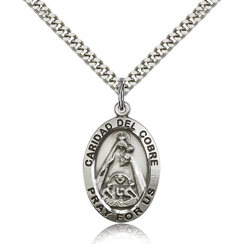 Sterling Silver 1in St Caridad del Cobre Medal & 24in Chain