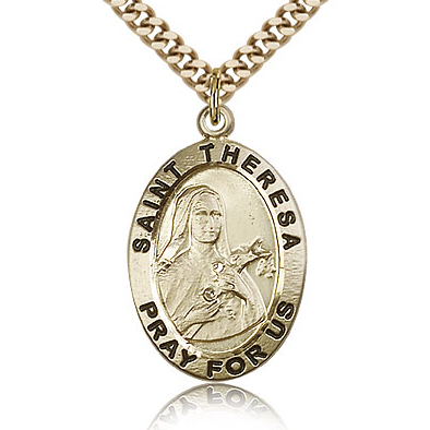 Gold Filled 1in Antiqued St Theresa Medal & 24in Chain