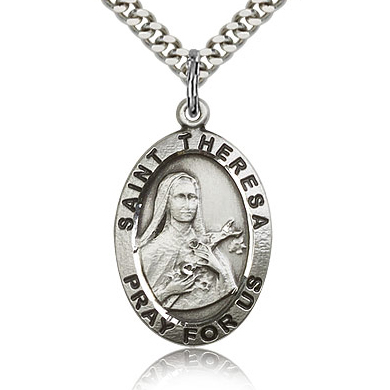 Sterling Silver 1in St Theresa Medal & 24in Chain