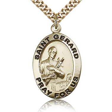 Gold Filled 1in Oval St Gerard Medal & 24in Chain