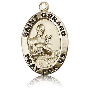 14k Yellow Gold 1in Antiqued St Gerard Medal