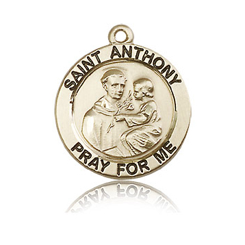 14kt Yellow Gold 3/4in St Anthony Medal