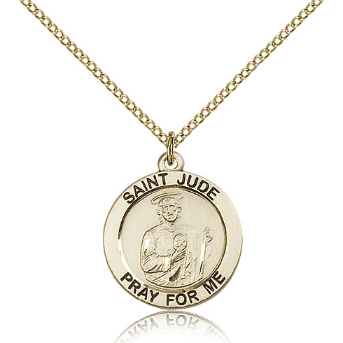 Gold Filled 3/4in Round St Jude Medal & 18in Chain