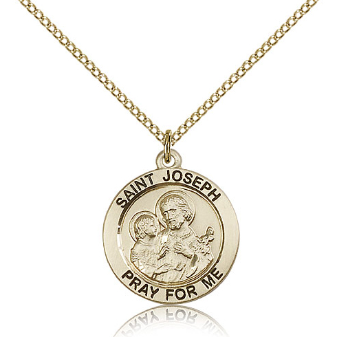 Gold Filled 3/4in St Joseph Medal & 18in Chain