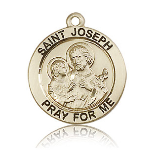 14kt Yellow Gold 3/4in St Joseph Medal