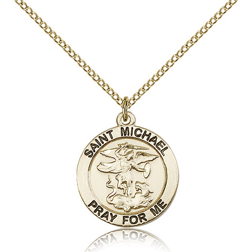 Gold Filled 3/4in Round St Michael Medal & 18in Chain