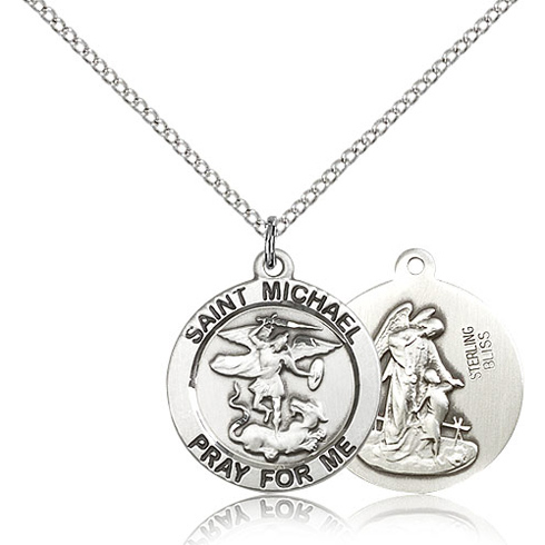 Sterling Silver 3/4in St Michael Pray For Me Medal & 18in Chain