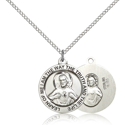 Sterling Silver 3/4in Scapular Medal & 18in Chain