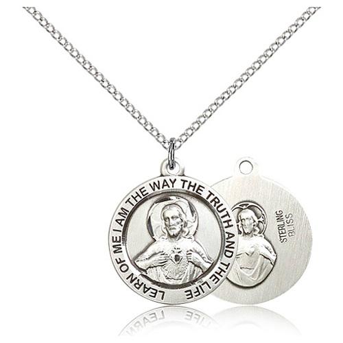 Sterling Silver 3/4in Scapular Medal & 18in Chain