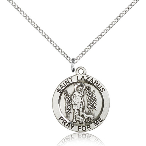 Sterling Silver 3/4in St St Lazarus Medal & 18in Chain