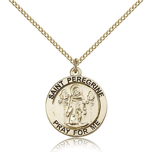 Gold Filled 3/4in Round St Peregrine Medal & 18in Chain