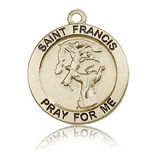 14kt Yellow Gold 3/4in St Francis Medal