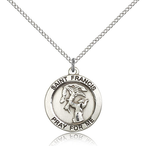 Sterling Silver 3/4in St Francis Medal & 18in Chain